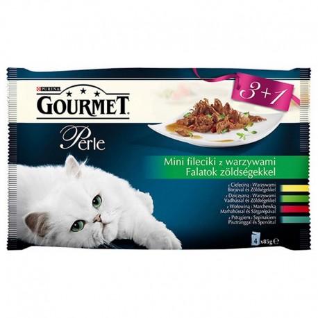 Purina Gourmet Perle 3+1 mini fileciki w sosie warzywnym cielęcina, dziczyzna, wołowina, pstrąg 4x85g