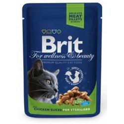 Brit For wellness and beauty z kurczakiem dla kotów po sterylizacji 100g